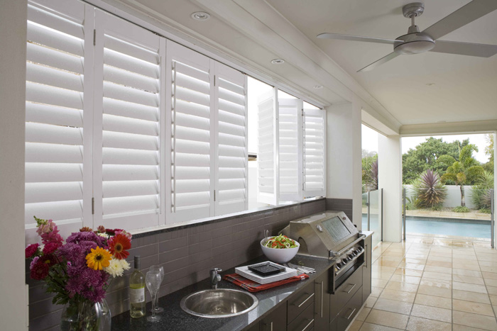 White plantation shutters for external kitchen areas